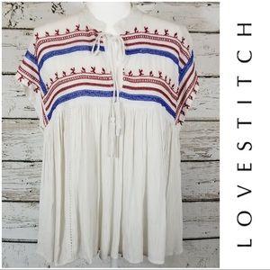 Love Stitch Cream Embroidered Split Neck Top